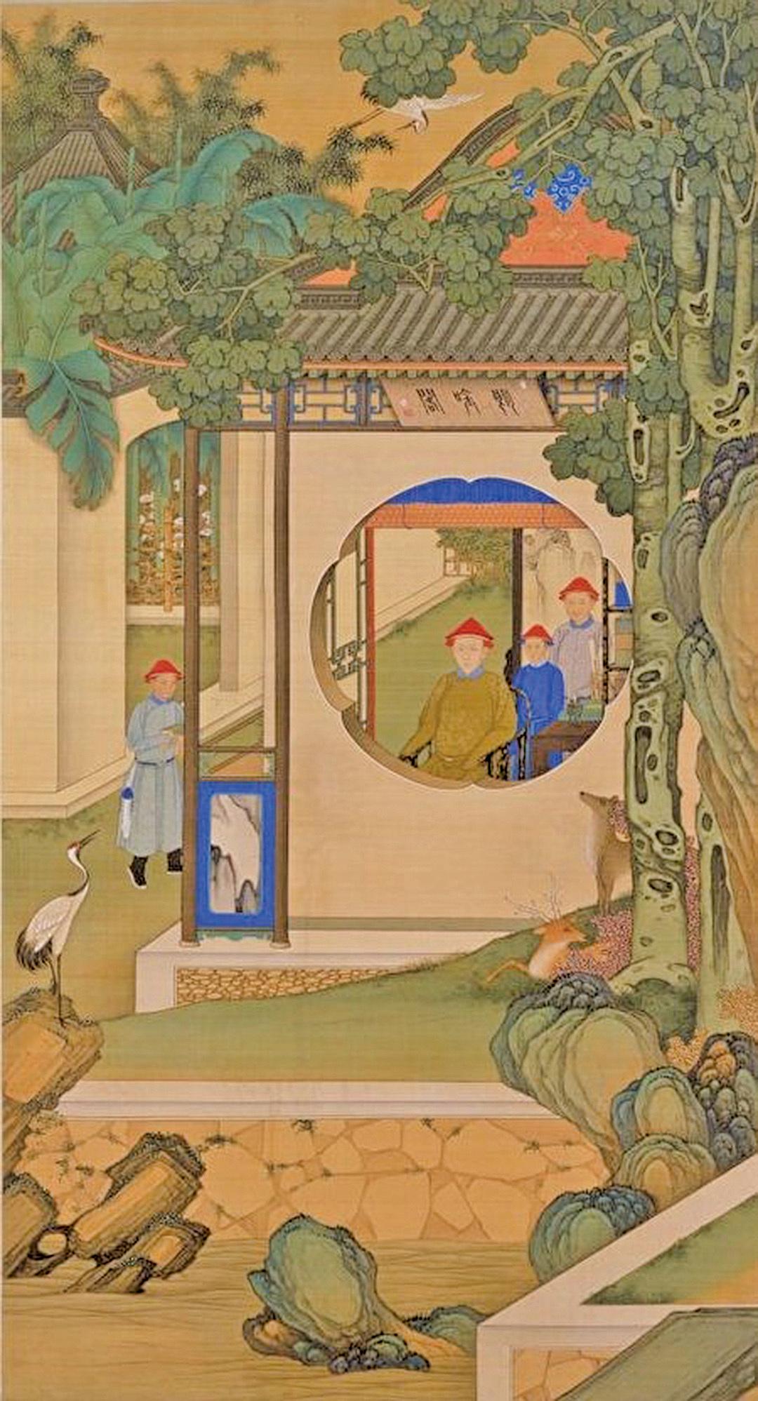 清人繪《胤禛朗吟閣圖》局部,描繪雍正為皇太子時,在圓明園內幽居的場景。北京故宮博物院藏。(公有領域)