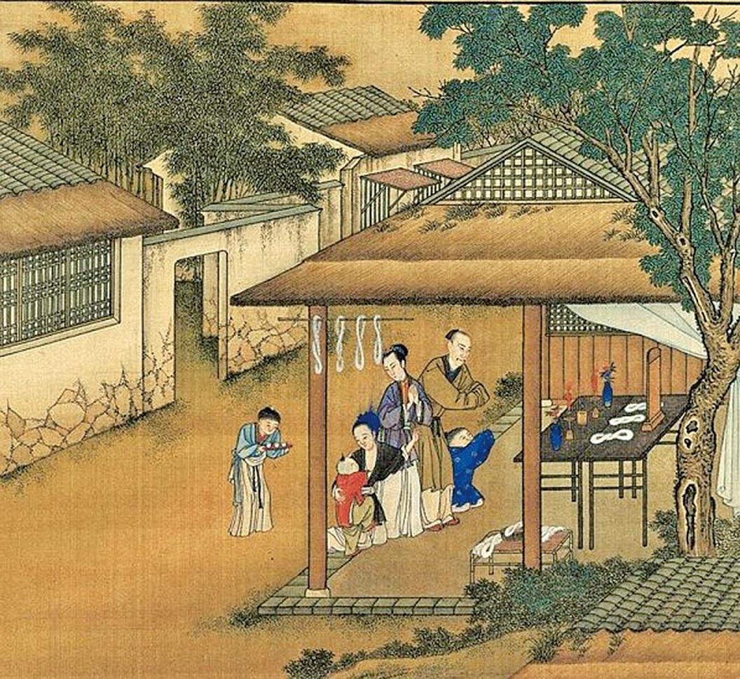 清 佚名《雍正耕織圖‧祀神》,描繪胤禛拜蠶神,妻子與他同拜,還關照著身邊的小兒子。北京頤和園藏。(公有領域)