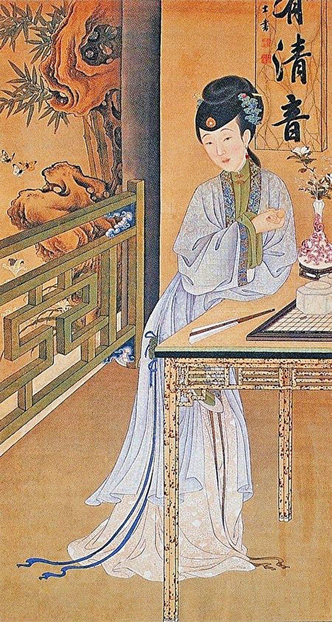 清人繪《雍正十二美人圖》之消夏賞蝶,人物以烏拉那拉氏為原型。(公有領域)