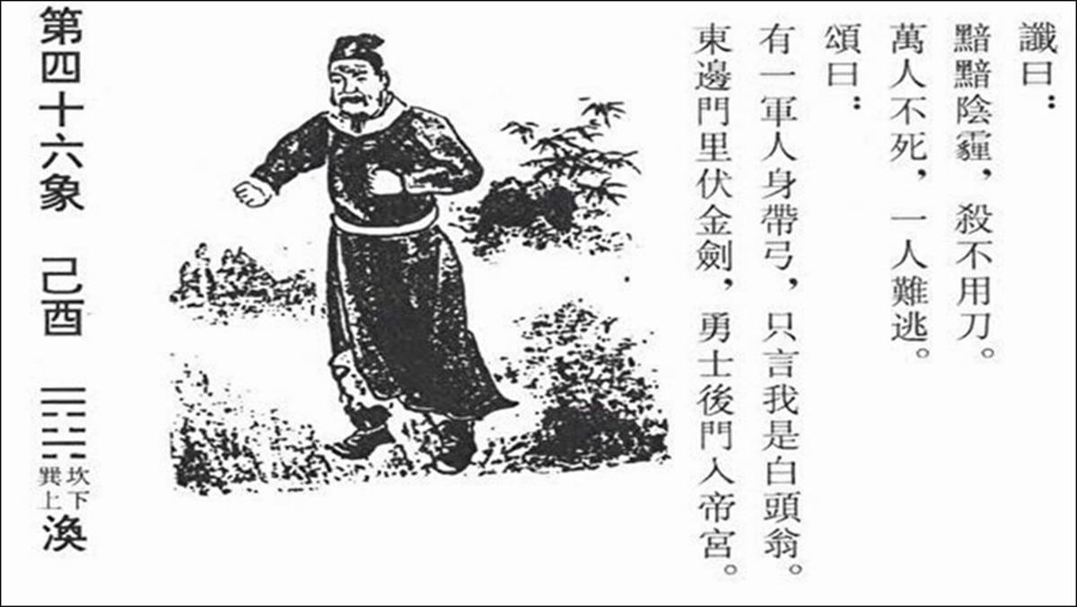 唐朝李淳風所著的《推背圖》第46像,被發現和今天世界正在發生的重大事件非常吻合。(網絡截圖)