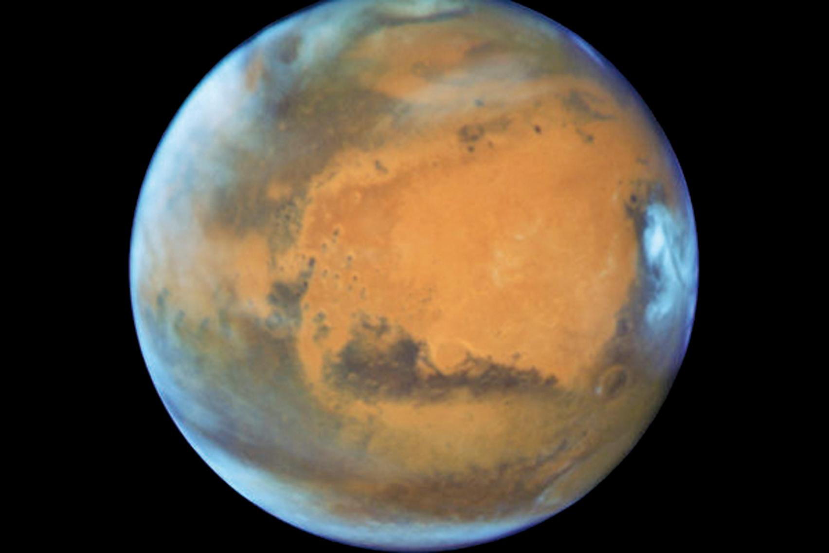 NASA發佈哈勃太空望遠鏡拍攝的最新火星照片。(取自NASA)