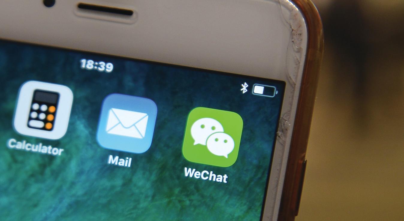 現在微信(WeChat)使用擴張到海外,研究人員表示,微信在國外的使用令中共在全球擴張其監控和審查的範圍。(宋碧龍/大紀元)