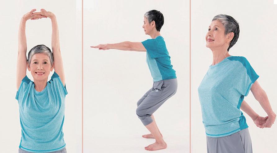 測試血管年齡動作:雙手交握頭頂、深蹲、雙手交握背後。(三采文化/大紀元合成)