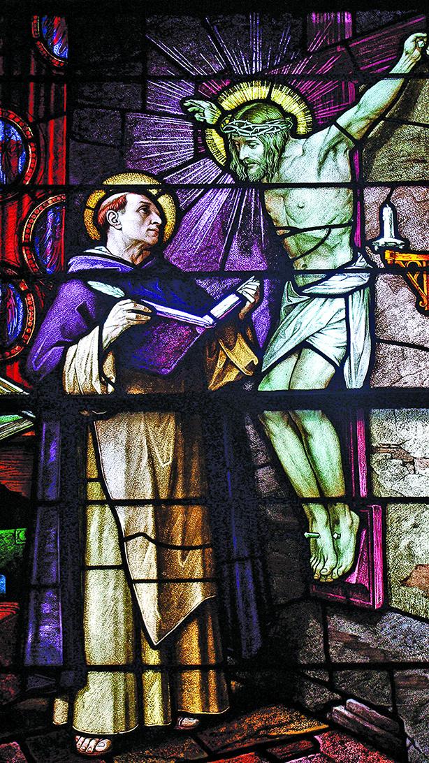 俄亥俄州聖帕特里克教堂花窗玻璃細節:耶穌與阿奎那。(Nheyob/Wikimedia Commons)