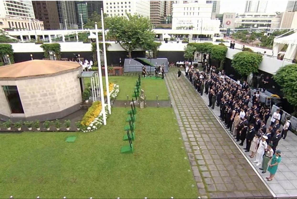 9月3日是抗日戰爭勝利紀念日,中環大會堂紀念花園早上舉行儀式,行政長官林鄭月娥未邀傳媒低調出席。(相片由大會提供)