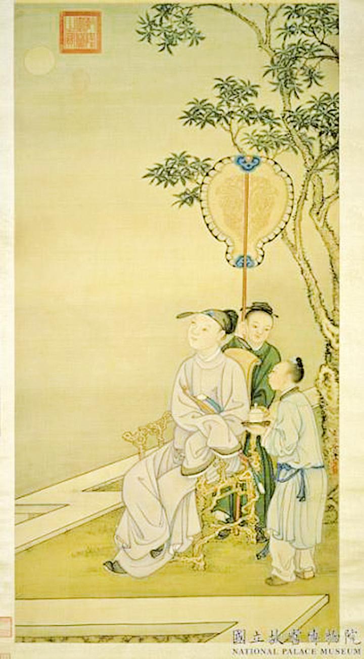 士人靜坐獨賞清輝明月。清.冷枚〈賞月圖〉(國立故宮博物院)
