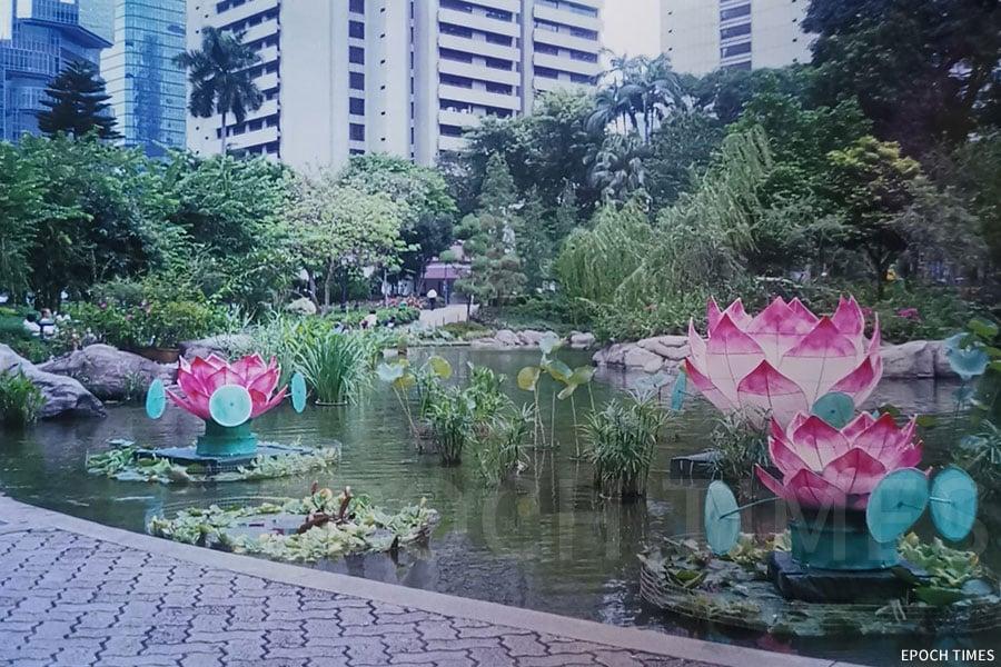 90年代香港公園蓮花燈。(受訪者提供)