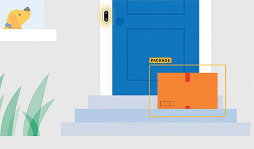 谷歌本周宣佈將賦予智能門鈴Nest Hello新的偵測功能,在門口檢測到包裹後會自動發通知給主人。(網頁截圖)