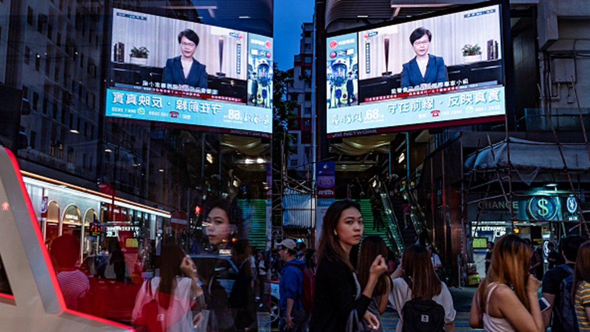9月4日,林鄭月娥沒有召開記者會,而是在電視上向民眾宣佈撤回送中條例,這一異常現象引發外界諸多猜測。(Anthony Kwan/Getty Images)