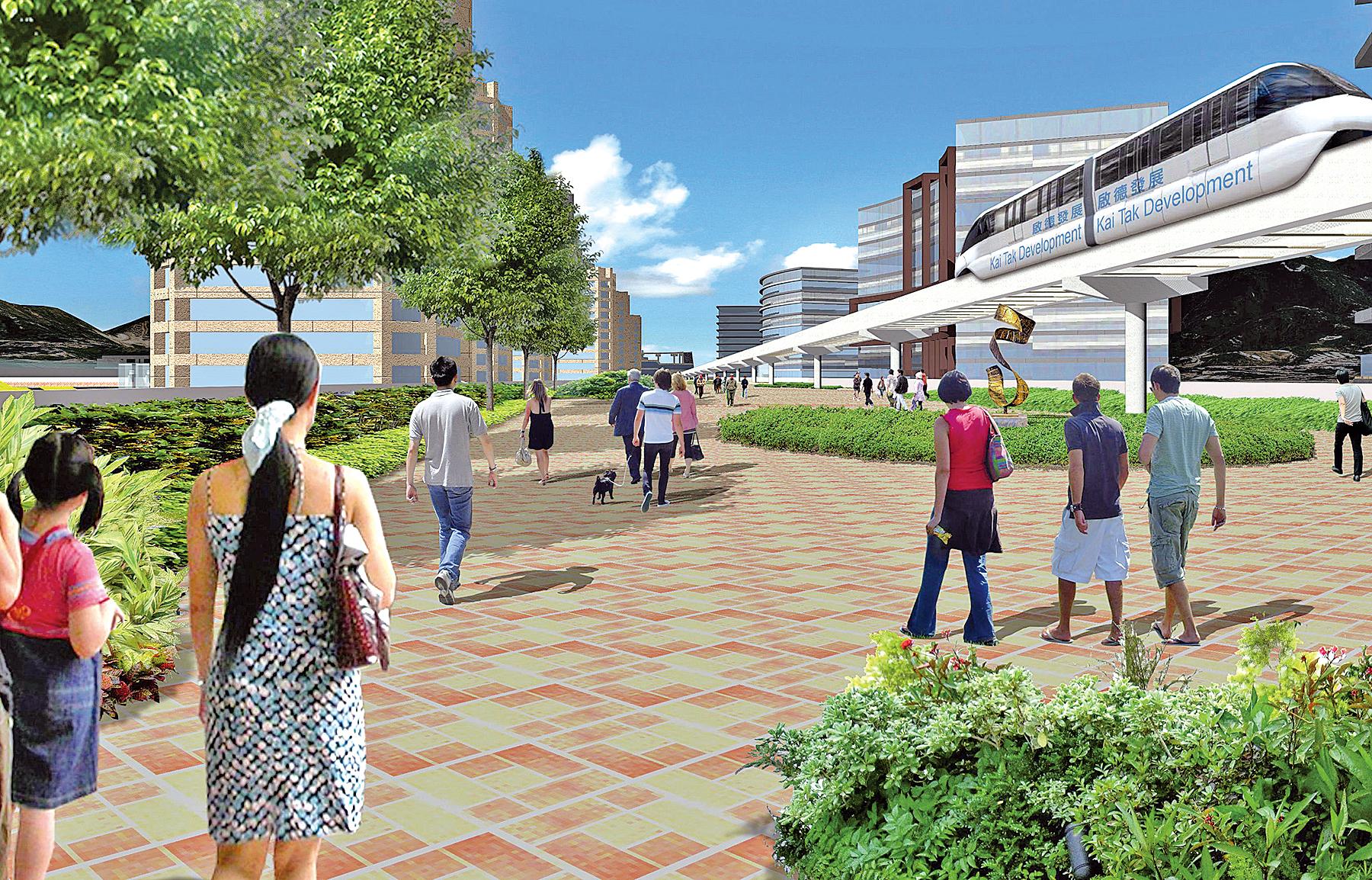 本文作者指,啟德發展區對「明日大嶼」帶來五項啟示。圖為構思中的單軌鐵路,將連接啟德發展區、觀塘和九龍灣三地,耗資120億元,50年回報1%。至今七年仍未建成。(發展局網站2012年11月圖片)