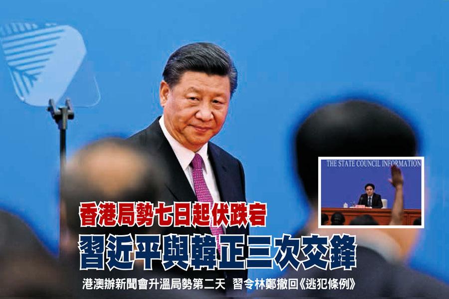 香港局勢七日起伏跌宕 習近平與韓正三次交鋒
