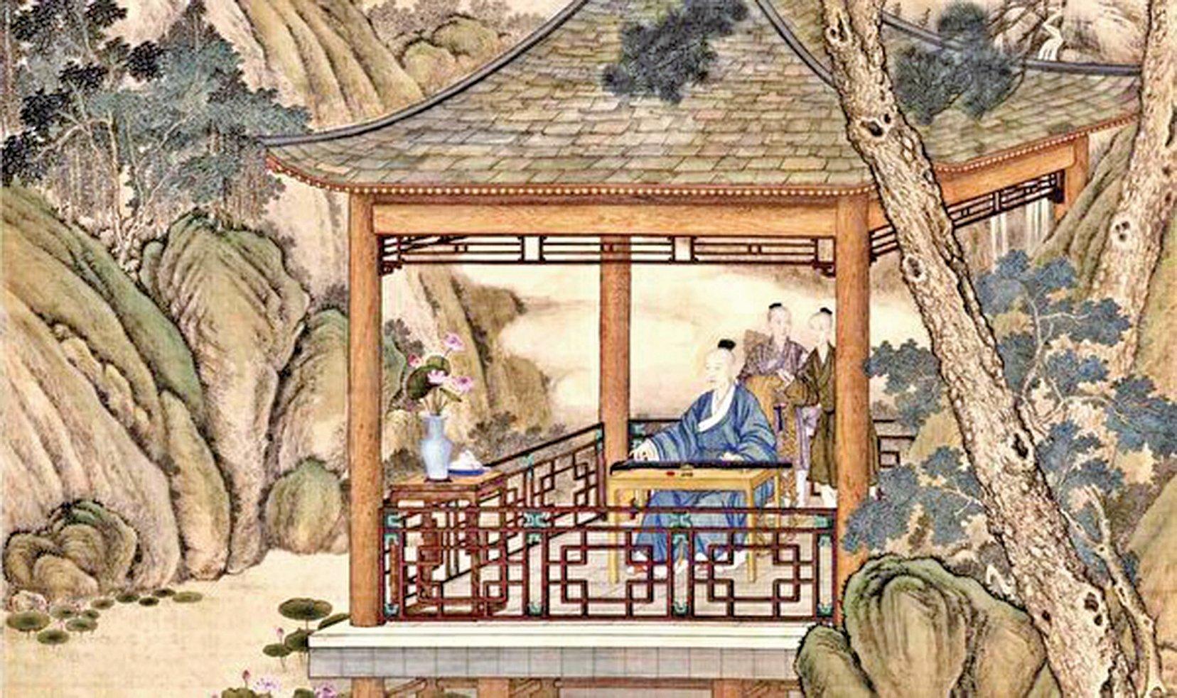 示意圖。[清]郎世寧,《弘曆觀荷撫琴圖》(局部),北京故宮博物院藏。(公有領域)
