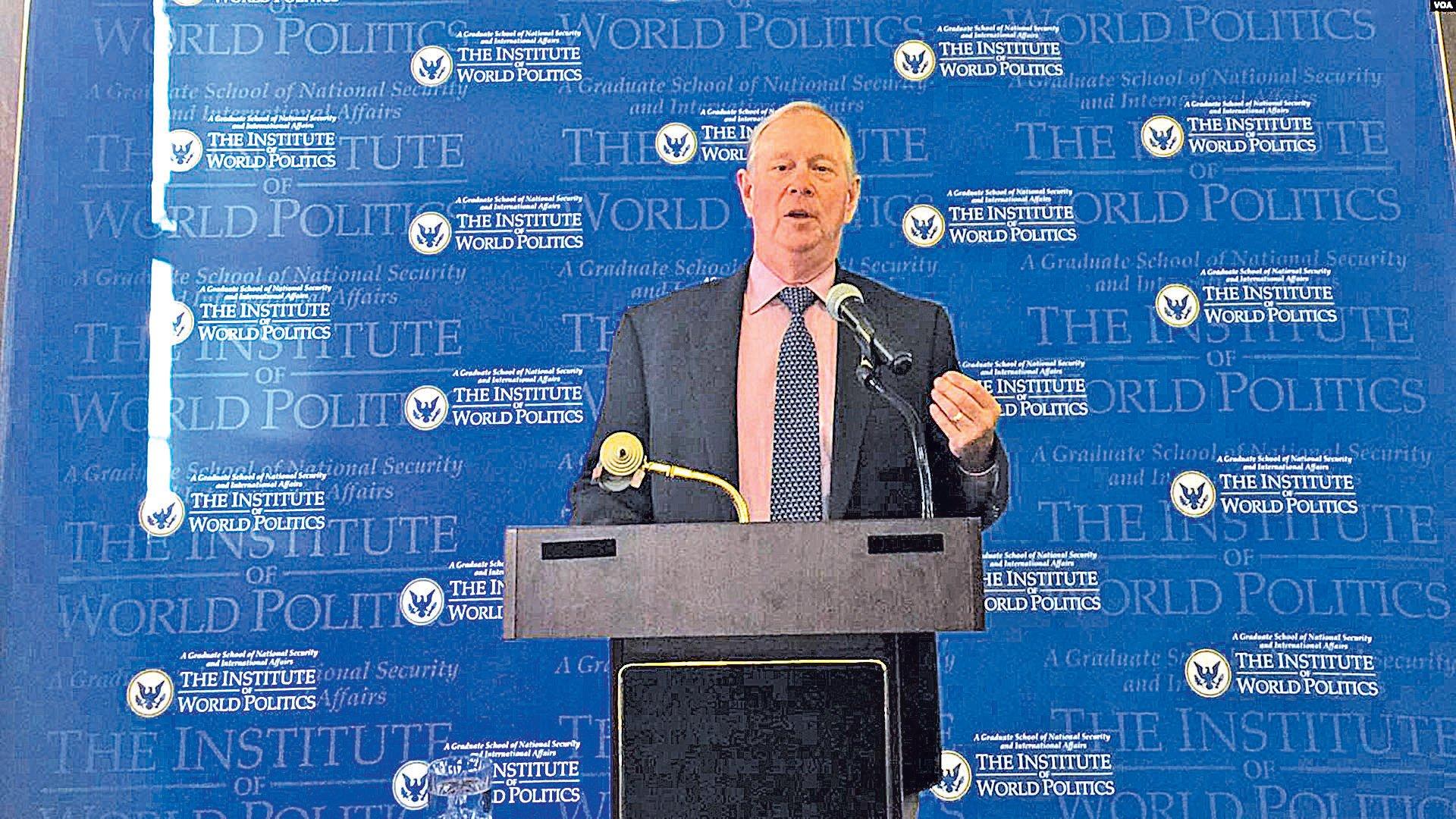 圖為格茨1月18日在華盛頓世界政治研究所演講。(美國之音)