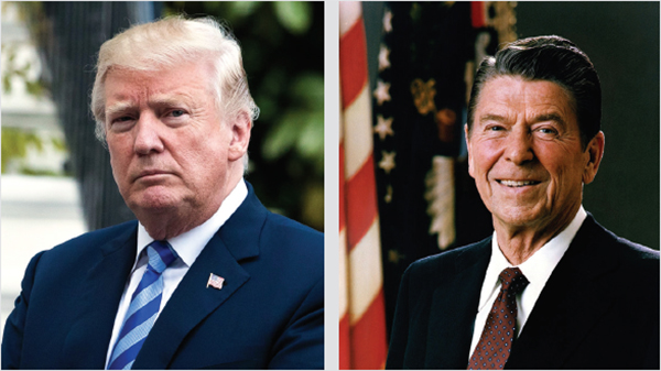 特朗普總統(左)對中共的策略,跟當年列根總統(右)解體蘇聯的過程,有驚人的相似。(大紀元資料室)