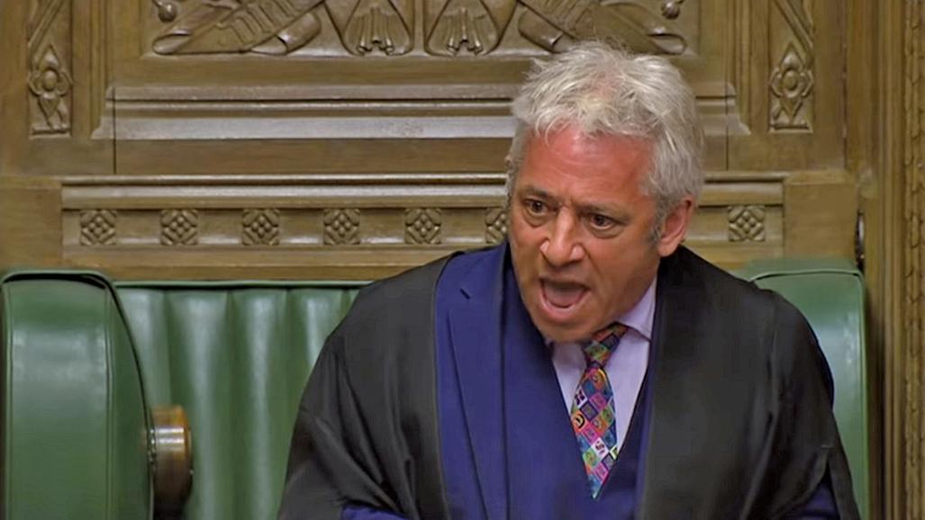 英國下議院議長約翰貝爾考。(影片截圖)