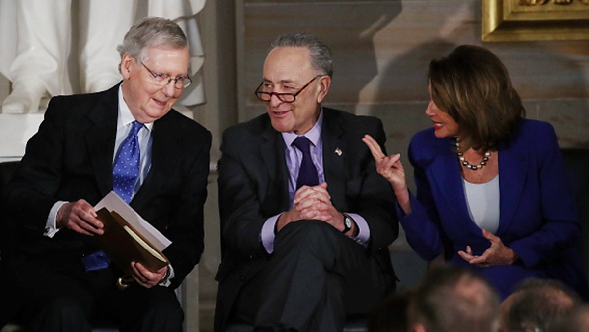 近日,美國國會眾議院議長佩洛西(左)、參議院少數黨領袖舒默(中) 和參議院多數黨領袖麥康奈爾盡都表示會迅速推動《香港人權與民主法案》。(Mark Wilson/Getty Images)