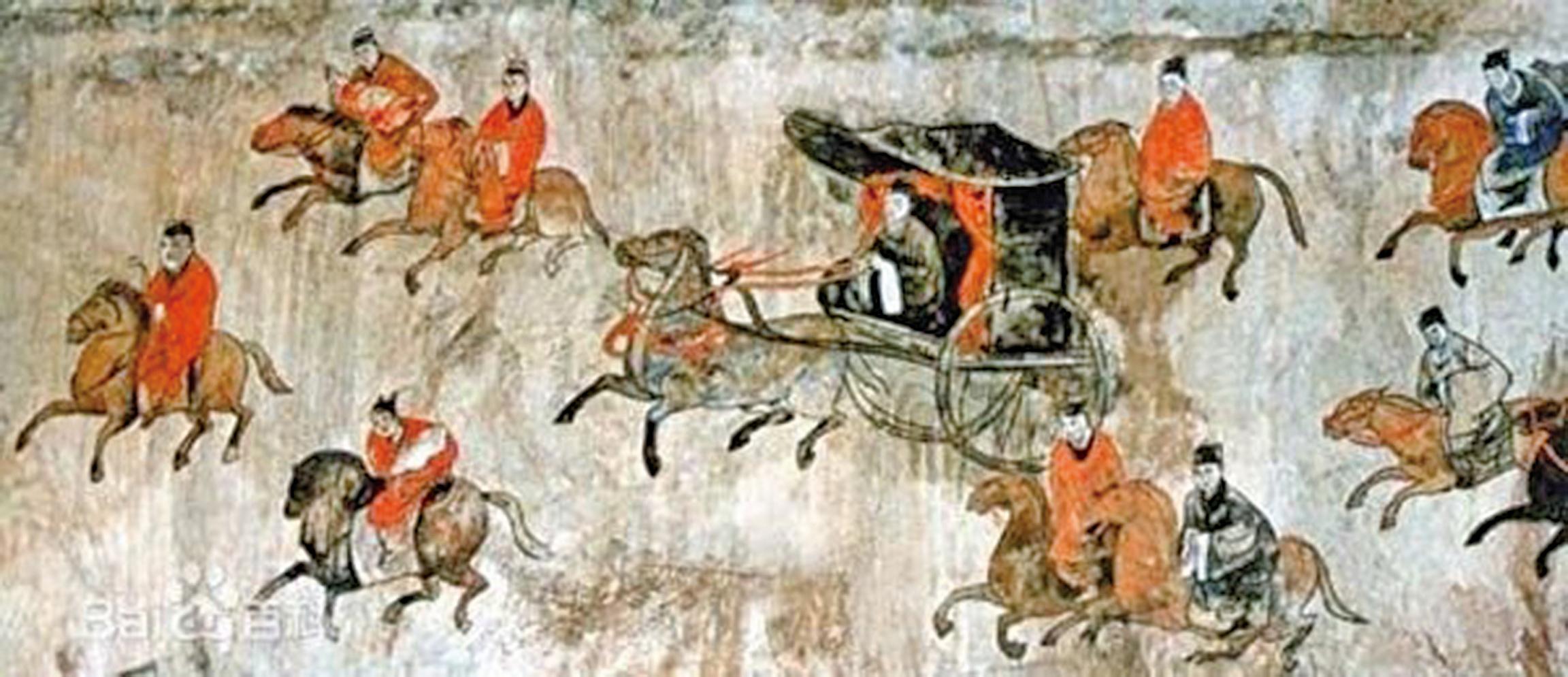 河南新密市打虎亭東漢墓室壁畫中的車馬出行圖。(公有領域)