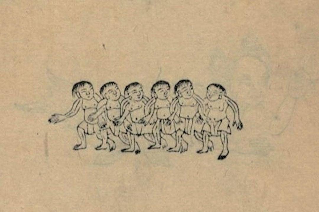 清朝吳任臣注《山海經廣注》之小人國插圖。(公有領域)
