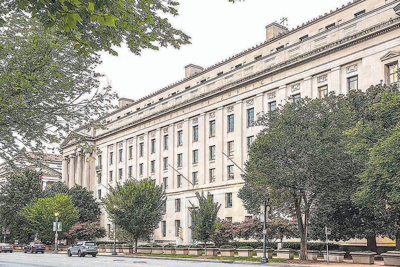 美國持續打擊中共盜竊美國科技,日前一對美籍華裔夫婦被控從俄亥俄州一家兒童醫院竊取商業秘密,或面臨最高30年監禁。圖為美國司法部大樓。(大紀元資料室)