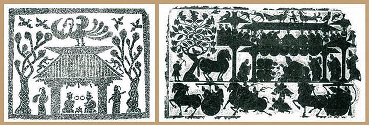 漢墓畫像石上的梧桐「連理木」(右圖左上方),上有雙飛鳥(公有領域)