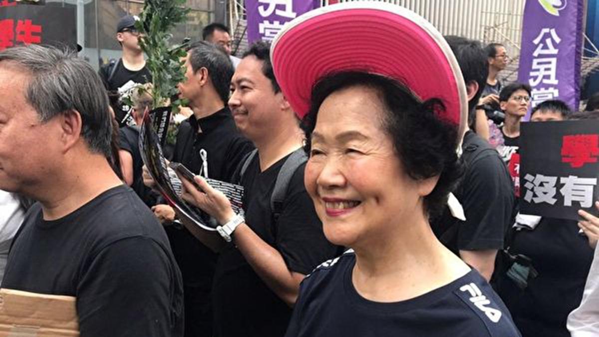 香港前政務司司長陳方安生6月16日參與反送中遊行。(林怡/大紀元)