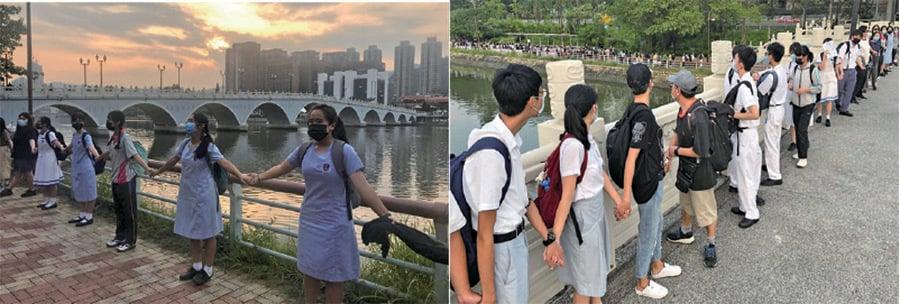 █來自近30間沙田中學的中學生昨放學後,由城門河,沿瀝源橋及翠榕穚牽手築起人鏈。(余天佑/大紀元)