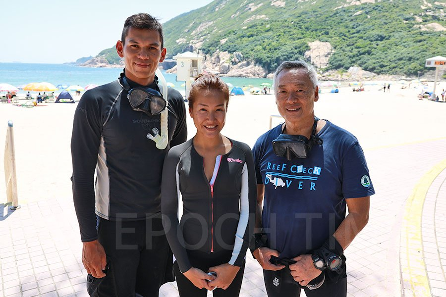左至右:參與潛水清理海洋垃圾與「鬼網」的熱心潛水愛好者William、Vickie與Harry Chan。(陳仲明/大紀元)