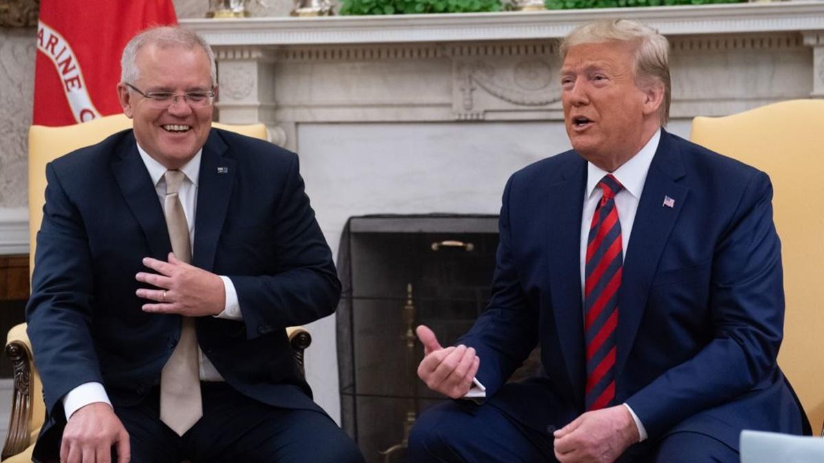 9月20日,美國總統特朗普(特朗普 右)在白宮與澳洲總理莫里森(左)會晤。(ALEX SAUL LOEB/AFP/Getty Images)