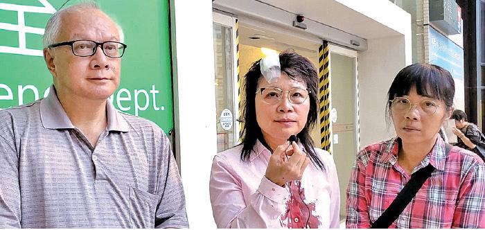香港法輪大法佛學會對暴力事件予以嚴厲譴責,會長簡鴻章(左)說,「 善惡有報,這些兇徒與幕後黑手,必將遭到天譴。」(影片截圖)
