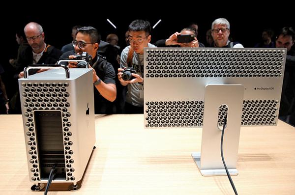 蘋果在2019年6月3日於加州聖荷西全球開發者大會(WWDC)上展出新款Mac Pro桌上電腦。(AFP)