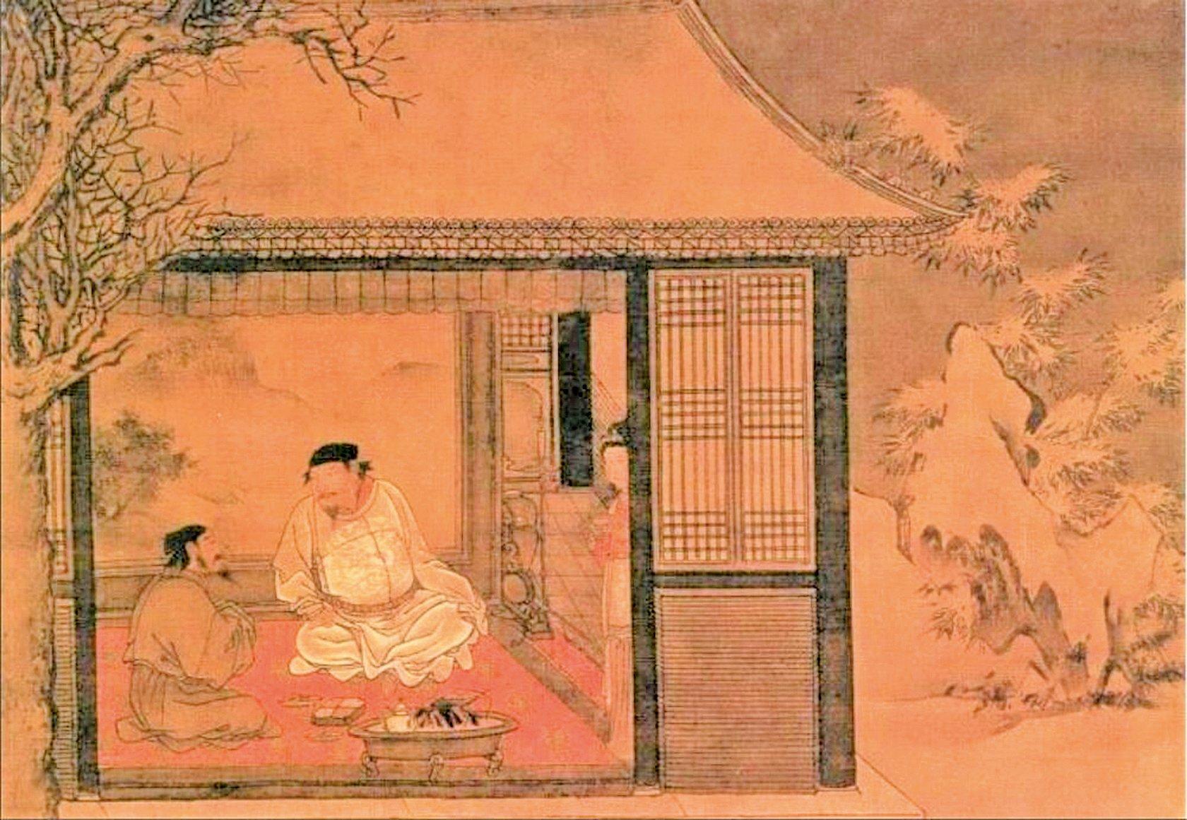這是蘇軾為好友錢穆父送別時所寫的一首感情真摯、充滿人生哲理的詞。明‧劉俊《雪夜訪普圖》局部(公有領域)
