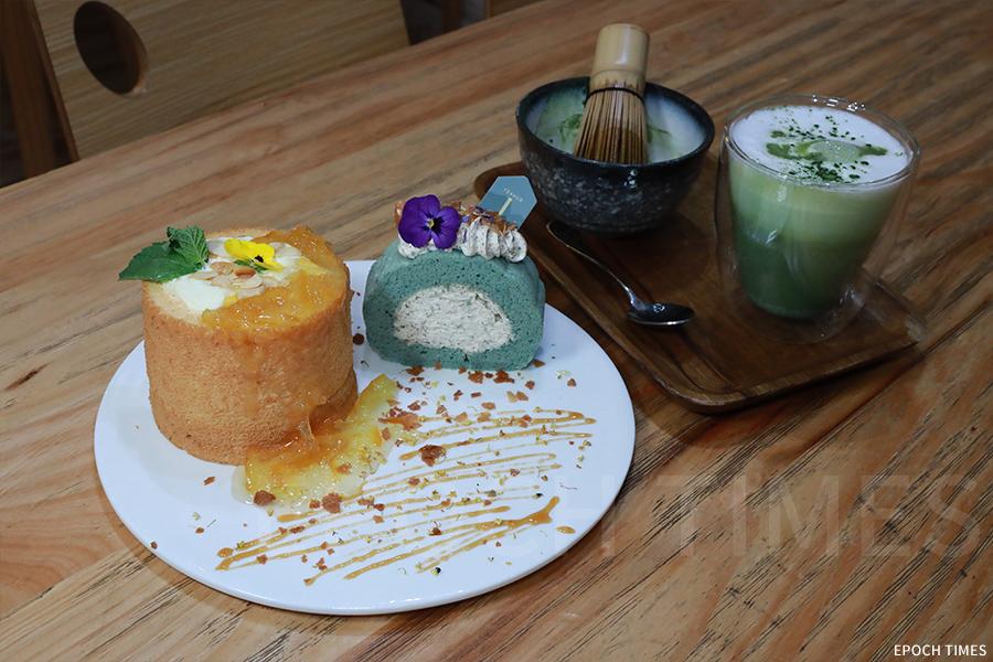 在Tiffany的小店中,所有的食物都以茶入饌,圖為焙茶戚風蛋糕、抹茶鮮奶等。(陳仲明/大紀元)