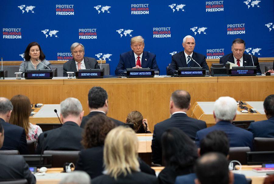 9月23日,特朗普總統在聯合國總部發表宗教自由演講。(SAUL LOEB/AFP)