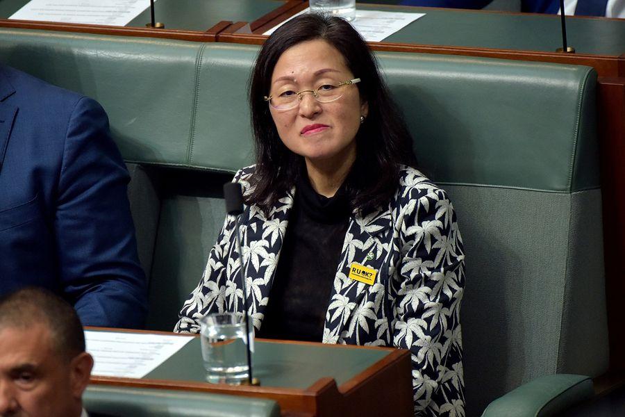 被指與中共統戰部有關係的澳洲自由黨華裔女議員廖嬋娥(Gladys Liu)。(MARK GRAHAM/AFP)