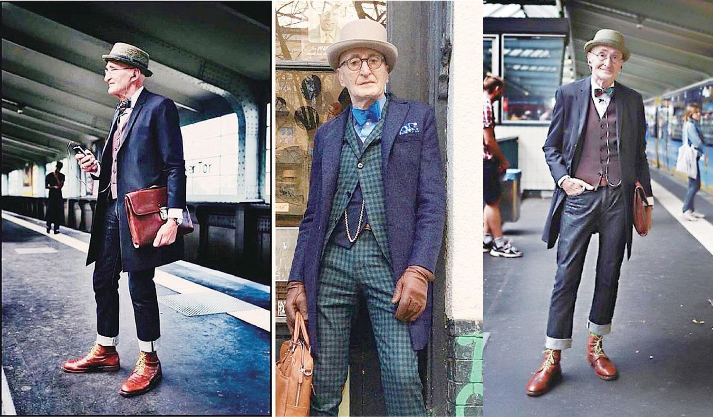 一位旅客拍下了爺爺等地鐵時的照片,令爺爺一炮而紅。(Gunther Krabbenhoft提供)