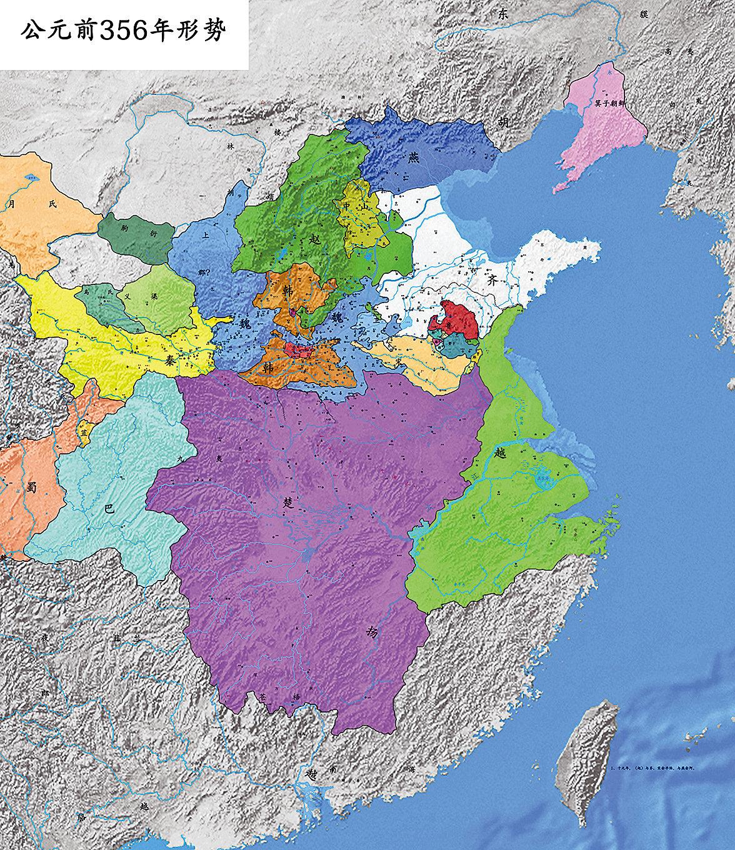 西元前356年,商鞅變法時的戰國形勢(布哈林/Wikimedia Commons)