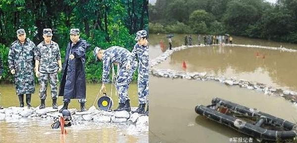 多名海軍工程大學的軍官穿著嶄新、不見一點泥跡軍服的軍官,站在已合攏的圍堰上指點潛水員,被網民譏諷擺拍作秀。(網絡圖片)