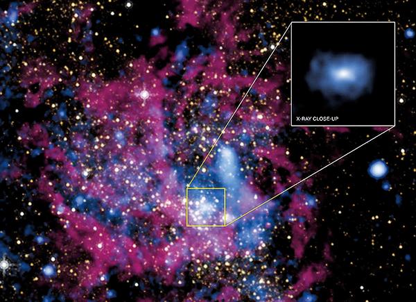 科學家發現,銀河系中央的超級黑洞人馬座A*正在吞噬大量的氣體與塵埃。此黑洞位於圖中正方形所標示之處。(NASA)