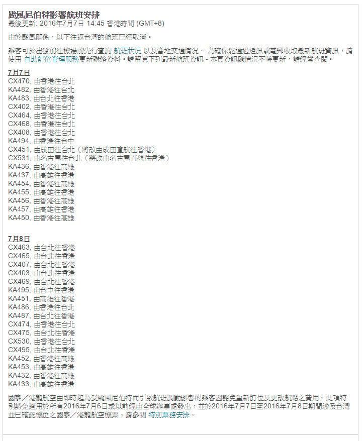 料「尼伯特」晚登陸台灣 逾40班來往港台航班取消