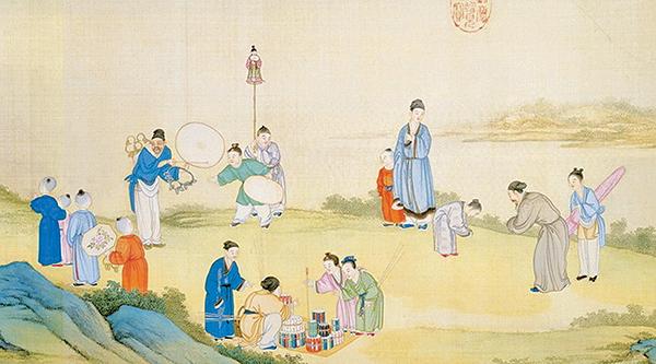 拱手禮又稱作揖,是中國古人相見時常用的一種禮節。圖為清‧丁觀鵬《太平春市圖》卷(公有領域)