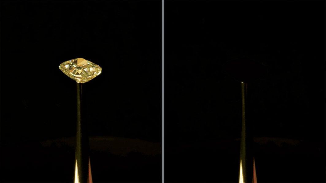 世上最黑材料 讓16克拉黃鑽憑空消失