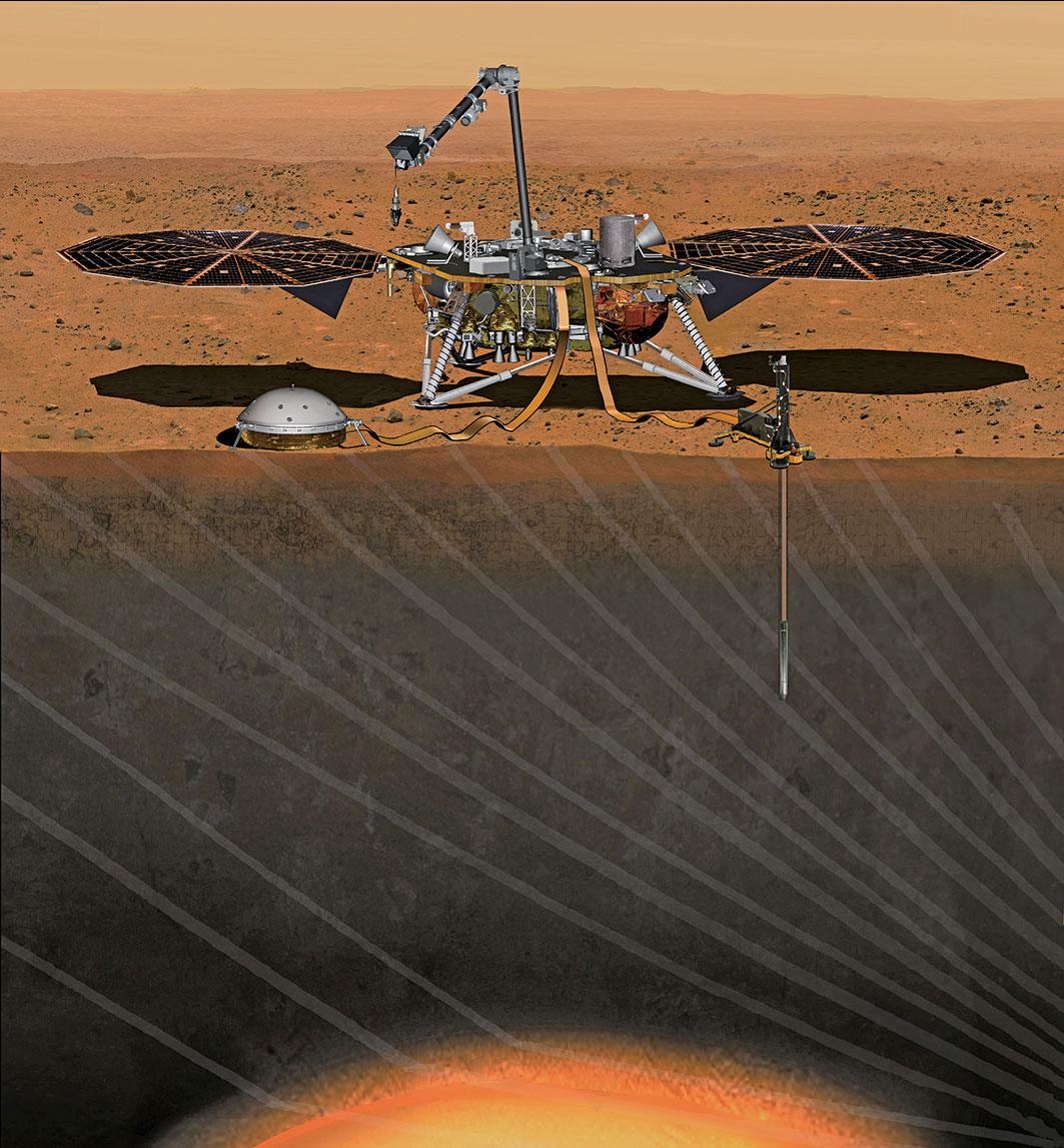 火星探測車洞察號示意圖。(NASA)