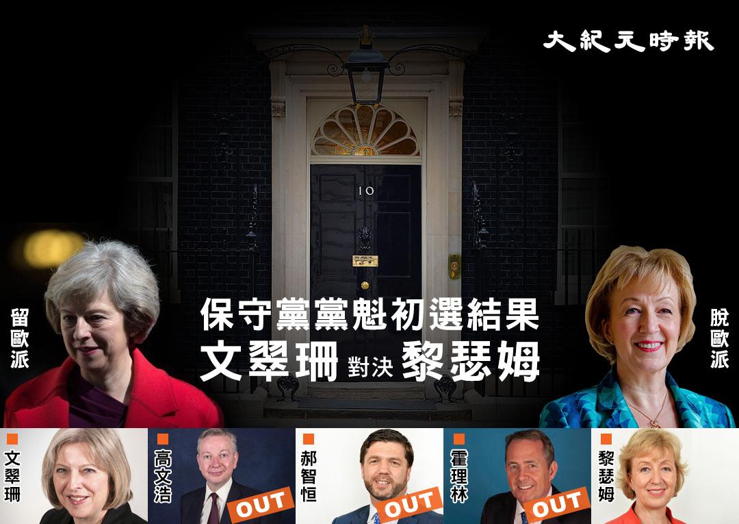 英國保守黨舉行黨內初選,結果由留歐派的內政大臣文翠珊(Theresa May),和脫歐派的能源及氣候變化大臣黎瑟姆(Andrea Leadsom)勝出初選。(Sergeant Tom Robinson RLC/MOD/維基公有領域/Carl Court/Getty Images/英國保守黨網頁/推特擷圖/大紀元合成圖)