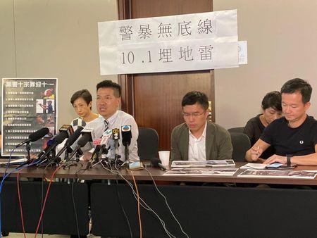 香港立法會議員、新民主同盟范國威在記者會上譴責警方暴行。(駱亞/大紀元)