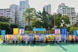 十一國殤日 港前區議員支持法輪功和平抗議