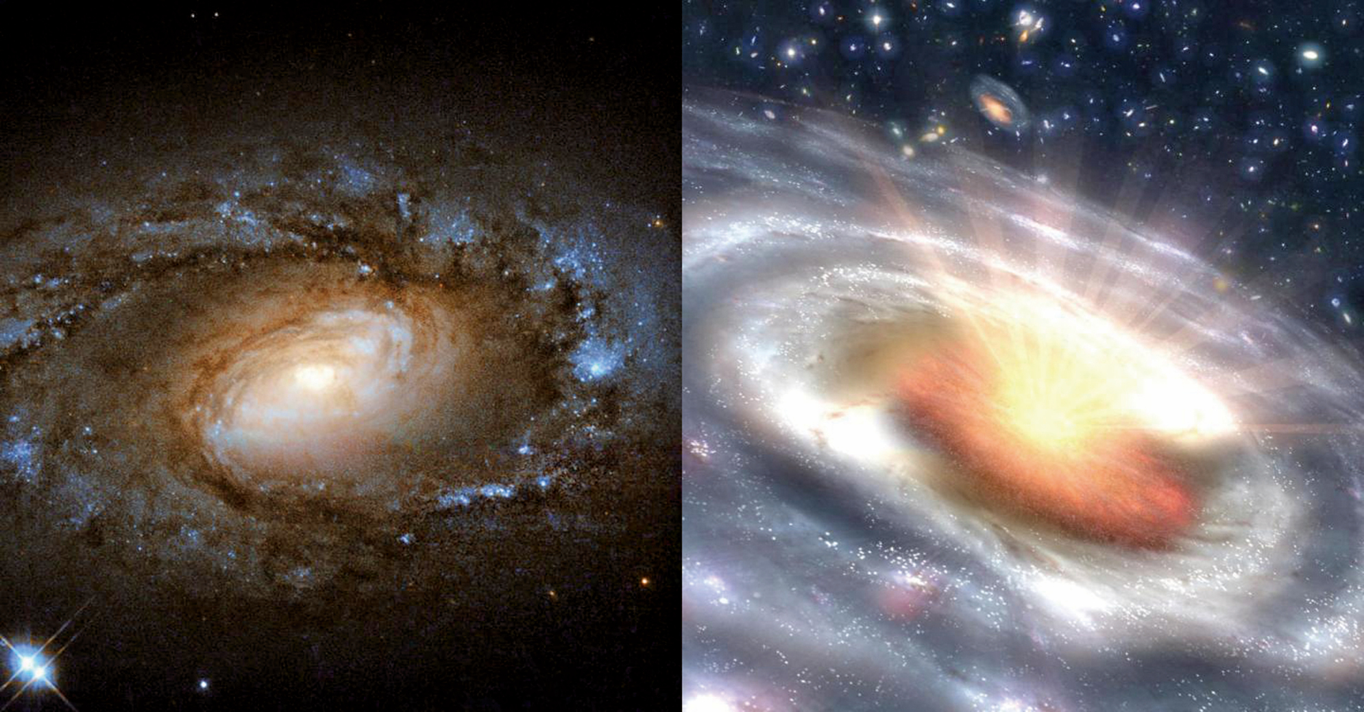 左圖為較為平靜的LINER星系示意圖,右圖為活躍明亮的類星體示意圖。(ESA/Hubble/NASA/JPL-Caltech)