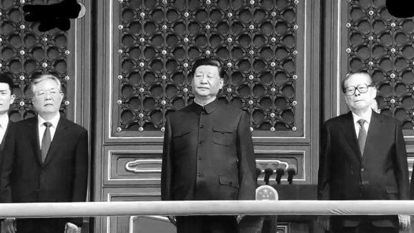 直播畫面中,習近平、胡錦濤、江澤民的狀態都極為不妙。(影片截圖)