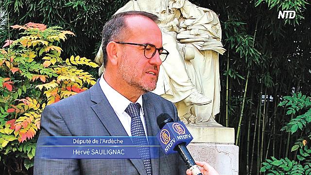 9月11日,國民議會報告員埃爾維‧索里尼亞克(Hervé Saulignac)說,要告訴法國人,中國存在活摘器官罪行。(新唐人電視台)