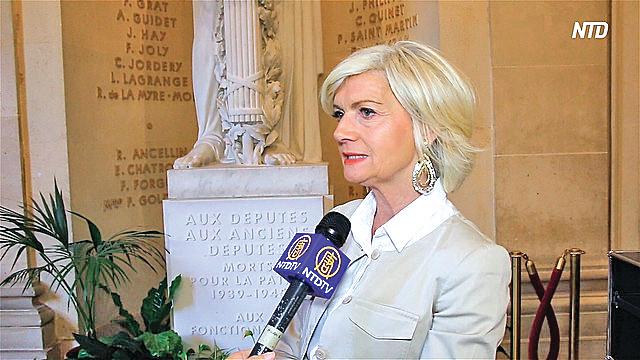 9月11日,法國索恩-盧瓦爾省議員喬西安娜‧科洛魯普(Josiane Corneloup )提議建立「海外器官移植者登記制度」,抵制人體器官買賣。(新唐人電視台)