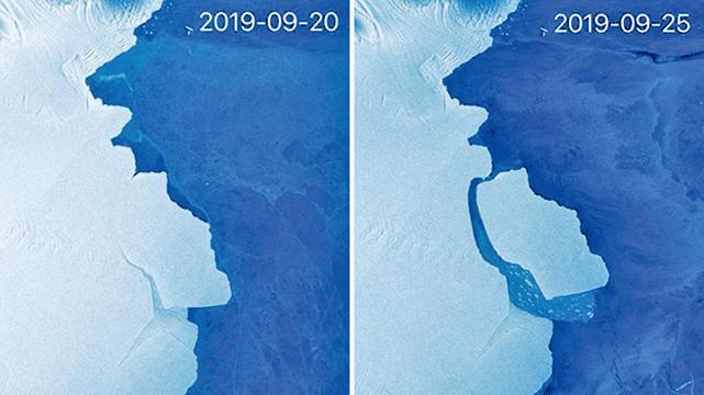 南極洲「D28」冰山在9月24日至25日脫離冰架,有科學家表示,這純屬自然現象,相信與氣候暖化無關。(網路圖片)
